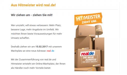 Hitmeister.de wird zu real.de